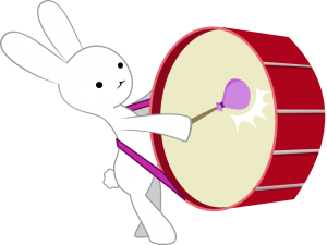Bunneh Bangs a Drum
